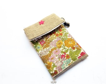 Phone cover linen and liberty fabric Margaret Annie