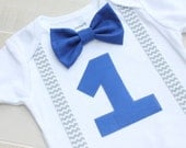 First Birthday Outfit, Baby Boy Bow Tie and Suspenders, Baby Boy First Birthday