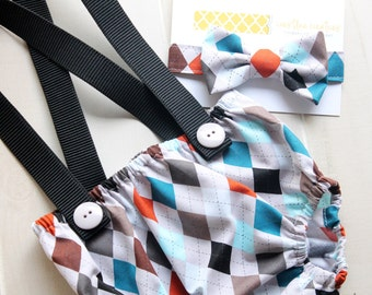 Argyle Diaper Cover with Suspenders and Bow Tie