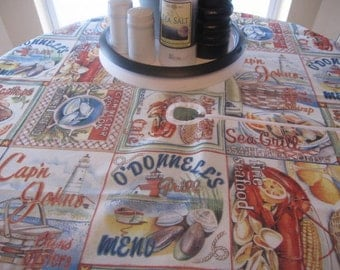 "SALE// AwEsOmE// Seafood Bash//  Picnic Table Cover// 70"" Round"