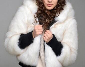 """Faux fur coat """"Polar she-wolf"""""""