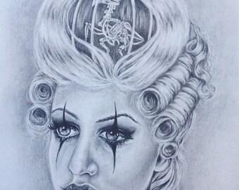 Original New Age Marie Antoinette Drawing