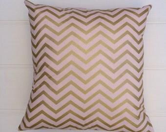 Blush & Gold Chevron Cushion Cover