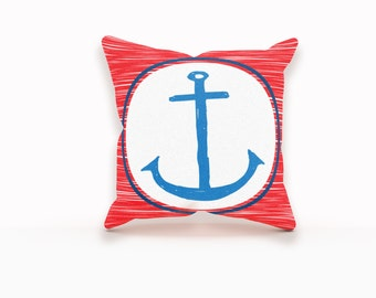 Anchor Pillow Cover, Nautical Pillow Cover, Anchor Pillow, Nautical Pillow Case, Nautical Pillow, Anchor Throw Pillow, Accent Pillow Covers