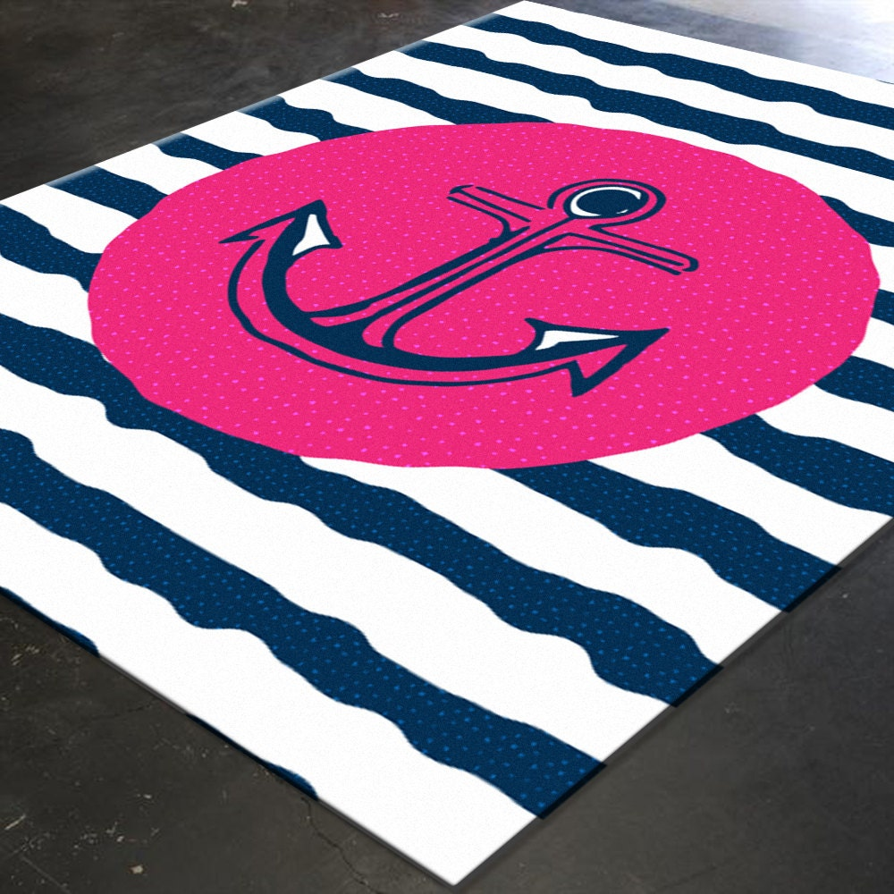 Nautical Rug Pink And Navy Nautical Pink And Navy By