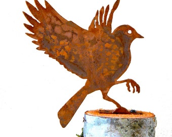 Flying Bluebird Steel Silhouette with Rusty Patina