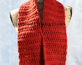 Red Winter Scarf, Crochet Adult Acrylic Wool Blend