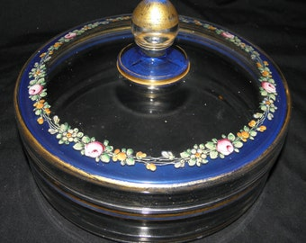 Vintage Mid Century Glass Lidded Bowl with Hand Painted Flowers Blue Band & Gold