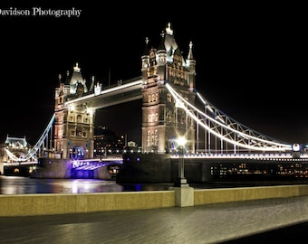 Tower Bridge at Night London 18x12 inch print