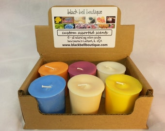 YOU CHOOSE SIX scented hand poured soy votive candles