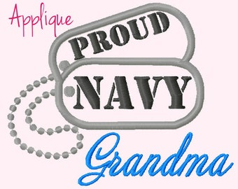 Proud NAVY Grandma Applique Machine Embroidery Design