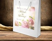 20 Pale Pink Rose Wedding Welcome Bag Labels on White Gloss bags. destination wedding bags, out of town hotel hospitality guest bags