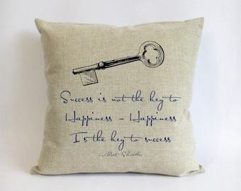 burlap graduation cushion-navy linen pillowcase-graduation gift for men-success is not the key to happiness-happiness is the key to success