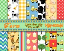 Farm Digital Papers, Seamless pattern, 14 pcs 300dpi- green, yellow, red, coral, blue (paper crafts,card making, scrapbooking)Commercial use