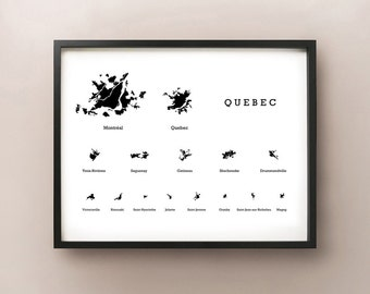 Quebec Cities Silhouette Map Print