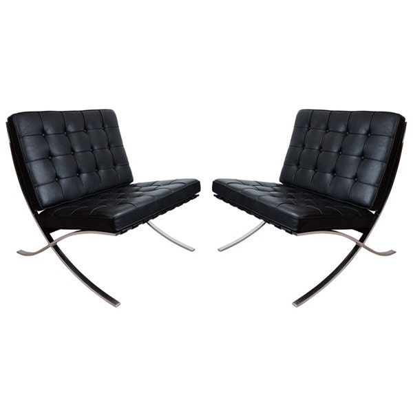 Pair of Knoll Barcelona Lounge Chairs in Velluto by RelicGallery