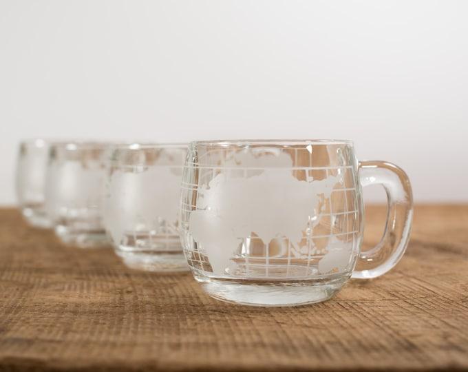 World Globe Map Glass Mug (Vintage Nestlé Nescafe)