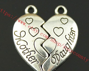 50sets 24x21mm antiqued silver Mother and Daughter  charms findings