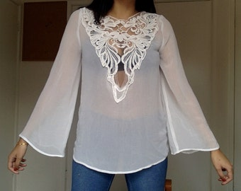 70s style sheer blouse