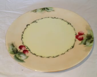 """Early 1900's Hand Painted Cherries Bavarian Sevres Thomas- 9 1/4"""" Plate"""