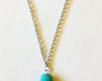 Simple Dainty Round Turquoise Disc Necklace