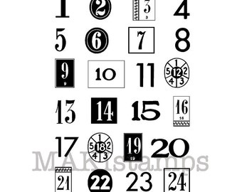 Small Adventcalendar numbers rubber stamps / Christmas Countdown stamps / Unmounted rubber stamps (150303)
