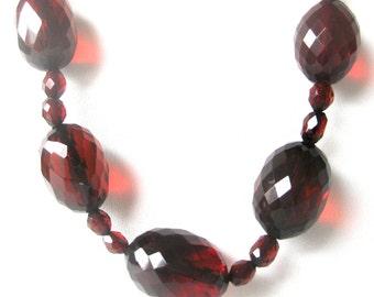 Vintage Bakelite Cherry Bead  Necklace