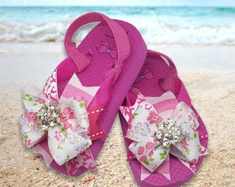 Fiona Boutique Bow on Flip Flops with Rhinestone Center Flower