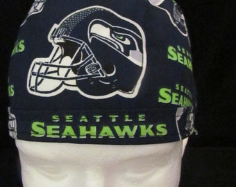 Seattle Seahawks NFL Football Tie Back Surgical Scrub Hat Cap