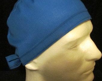 Basic True Blue Tie Back Surgical Scrub Hat