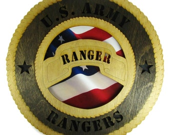 Army Ranger Laser Cut Military Wall Plaque with American Flag - Personalize It!