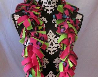 Pink, Green and Purple Leopard Print Fleece Fringe Boa Scarf