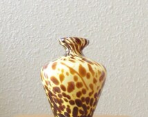 Antique Vintage Mid Century Modern Danish Retro Cased Glass Vase Painted