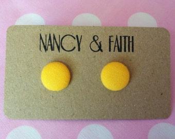 Lemon Yellow Fabric Covered Earrings