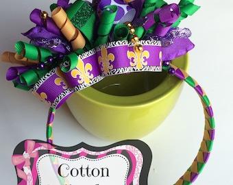 Mardi gras hair bow, Funky loopy bow on headband, Mardi Gras headband