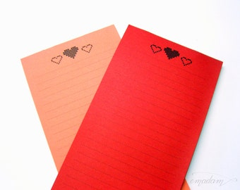 Notepads, memo pad, stationery, pads, bloc, to do list, list, writing pad, office supplies - Long Notepads - Hearts