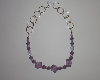 Retro Purple Frosted Beaded Necklace - Handmade