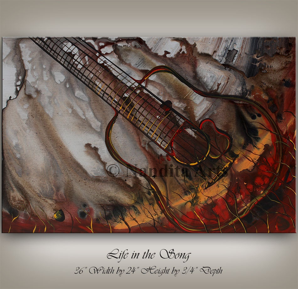 abstract art guitar painting music art original abstract. Black Bedroom Furniture Sets. Home Design Ideas