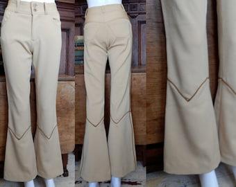 Vtg 1970's Southwestern tight flare supermodel slacks bellbottom pants cowgirl hippie chic