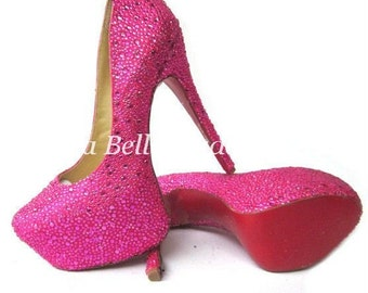 Pink Crystal Shoe's, Pink Wedding Shoes, Pink Bridal Shoes, Pink Heels, Pink Pumps, Strass Heels, Strass Shoes, Strass Pumps