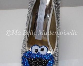 Cookie Monster Crystal Rhinestone Shoe's, Cookie Monster Shoes, Cookie Monster Heels, Cookie Monster Pumps