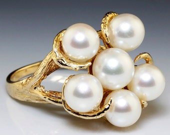 Estate Round Cultured Pearl Cluster Twig Ladies Ring in Solid 14kt Yellow Gold
