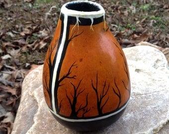 Native American Forest Gourd Vase