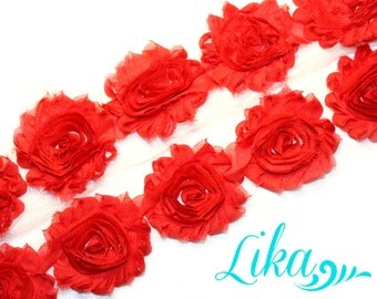 Red Shabby Rose Trim - Shabby Flower trim - Shabby Flower Rose Trim - Chiffon Flower - Red - Shabby Chic - Rose Trim - Wholesale - 1 Yard