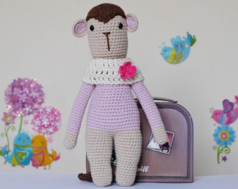Crochet Amigurumi Monkey Stuffed Toy Ready to Ship Childrens gift