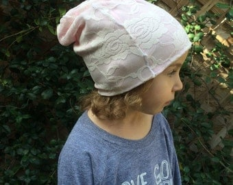 Lace Slouchy Beanie, girls Slouchy Beanie, pink slouchy beanie