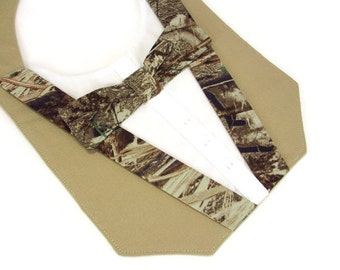 Dog Tuxedo Bandana in Camouflage & Khaki for Wedding or Special Occasion