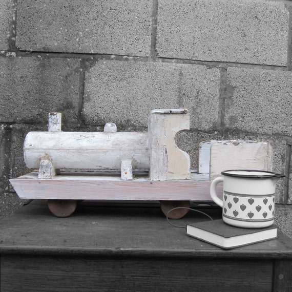 Wooden Train Vintage Rustic Old White Wooden Painted