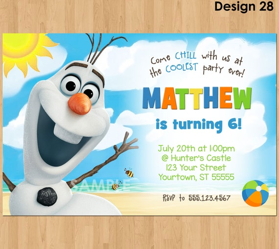 Olaf party invitations