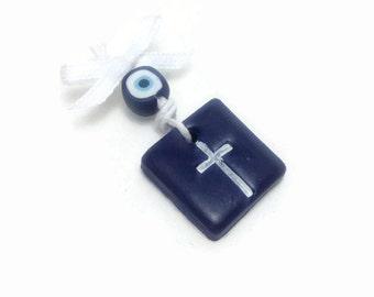 Orthodox Martirika, Cross Martirika, Baby Martirika, Baptismal Cross Pin, Evil Eye Martirika, Greek Baptism Favors, Pack of 20, 40, 60